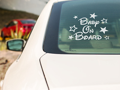 Disney Style Personalised stars Baby on Board Novelty Car Window Sticker Child