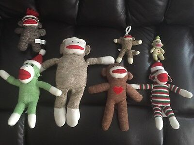 Lot of 7 Sock Monkey Plush Doll Mixed