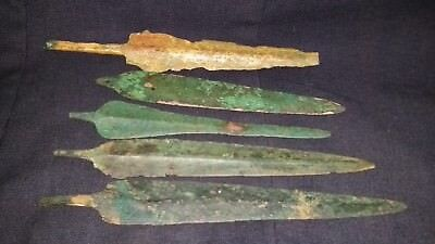 Ancient Luristan Bronze AGE  LARGE 5 SPEAR HEADS LOT C.400 BC.