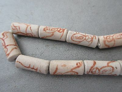 Matte Clay Painted Tube Beads 21pcs