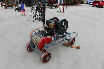 Stover Hit N Miss engine with working winch on metal cart
