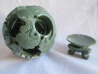 "Vintage 3 1/2""Chineese Jade Flower Magic 5 Layered Puzzle Ball with Jade Base"