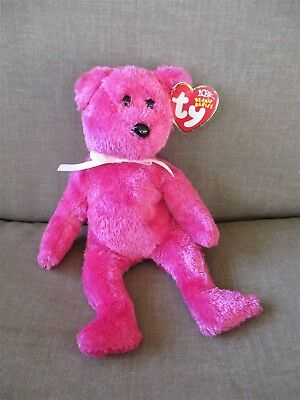 "TY Beanie Babies 8.5""Tall Bear Named ""Radiance"" Bright Pink 2003"