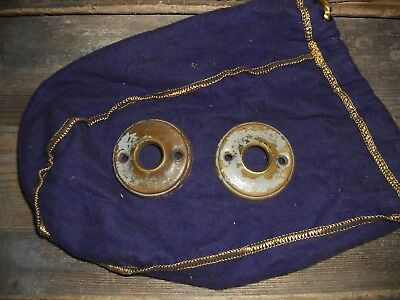 Vtg 2 Nice Brass Chippy Shabby Metal Antique Door Knob Back Plate Rosettes Craft
