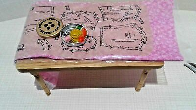 Dollhouse Miniature Pattern Pinned to fabric & filled sewing tin. TABLE NOT INC.