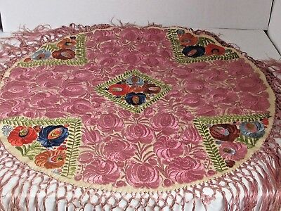 "Antique MATYO Hungarian Silk Embroidered Round Table Shawl 29"" diameter"