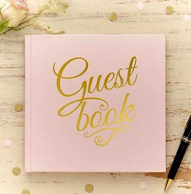Pastel Pink GUEST BOOK Wedding Keepsake Gold 32 Pages Memories Hardback Luxury