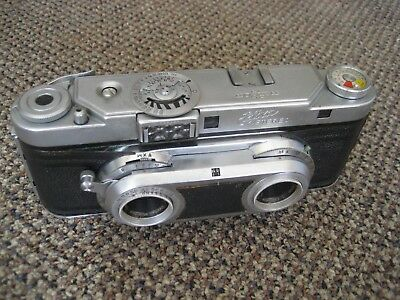 Antique Realist Edixa stereo camera with leather case