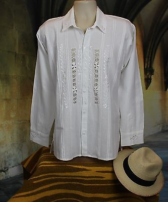 Men's Guayabera Latin American Shirt, Camisa cotton Embroidered, Oaxaca Mexico