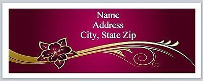 Personalized Address Labels Red Gold Flower Buy 3 get 1 free (P 603)