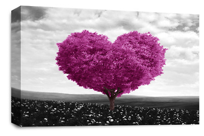 FLORAL FLOWER Canvas Wall Art Picture Grey Plum Black White Love Heart Tree