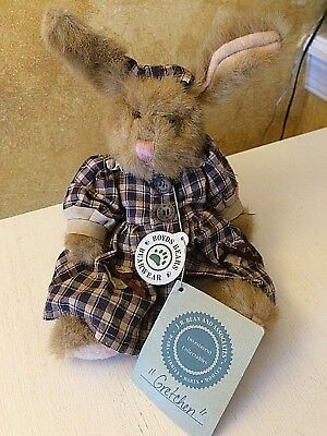 Boyds Bears Plush GRETCHEN Easter Bunny Rabbit Plaid Dress w/bloomers