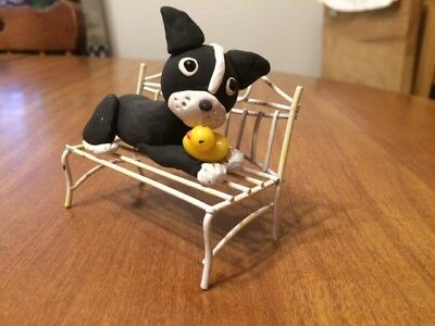 Sweet Boston Terrier On Bench With Ducky Figurine - OOAK - Polymer Clay