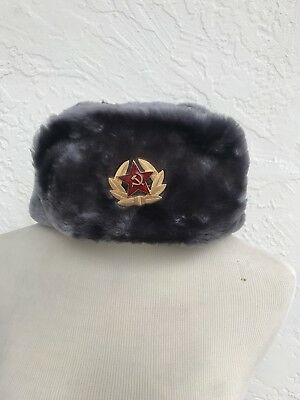 Authentic Russian Ushanka Gray Military Hat with Soviet Red Army Badge size L 60