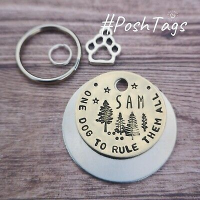 Come over to the dark star wars inspired hand stamped pet dog ID tags PoshTags