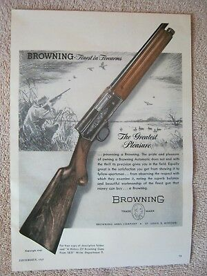 Vintage 1947 Browning A5 Automatic Shotgun Duck Hunting Print Ad