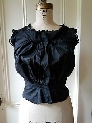 Antique Vintage Handmade Black Cotton w/ Lace Top, Gathered, Capped Sleeves