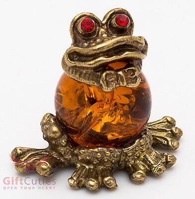 Russian Solid Brass Amber Figurine of Frog with knot bow Totem talisman IronWork