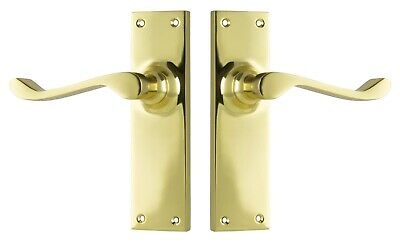 "DOOR LEVERS SET-""VICTORIAN""-POLISHED BRASS-FORGED PAIR-HERITAGE-VINTAGE-french"