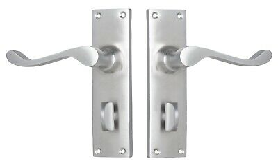 """DOOR LEVERS SET-""""VICTORIAN""""-SATIN CHROME-FORGED BRASS PAIR-HERITAGE-french-deco"""