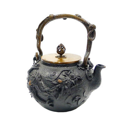 AUTHENTIC KIBUNDO Dragon iron kettle Antiques / folk crafts unisex