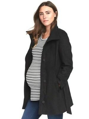 Old Navy Maternity Coat Black Size L Funnel Neck Belted NWT