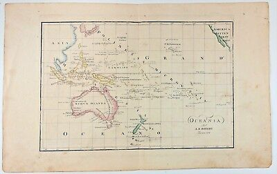 Australia New Zealand Hawaii Pacific 1836 MAP by BORGHI copper plate ENGRAVED