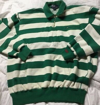 VTG Ralph Lauren Polo Sport 1/2 Zip Sweatshirt Striped Green 1980's Men's L RARE