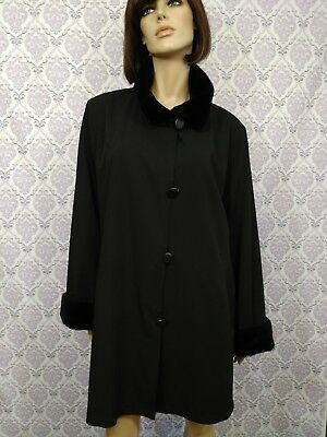 VTG Womens Opera Coat Swing Coat Black Velvet Lined Faux Fur Cuffs Collar Sz XL