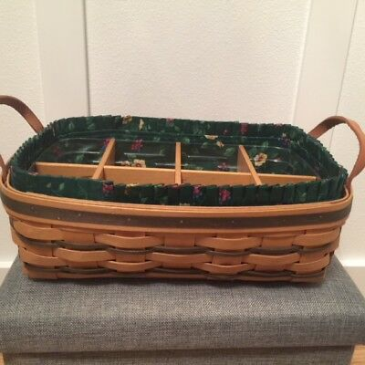 Excellent Longaberger Green Pantry Basket with Protector and Wood Dividers