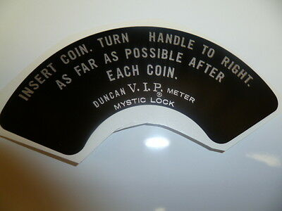 Decal/Sticker For The Duncan Parking Meter 70 instruction plate