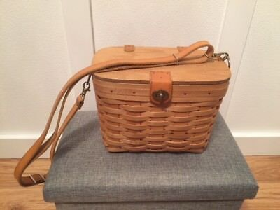 Well loved Longaberger Basket Purse with Leather Strap, Protector, and Liner
