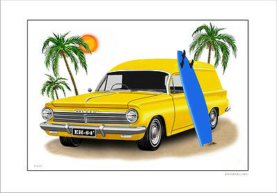 Holden  Eh Panelvan 179 Surf Wagon  Limited Edition Car Drawing  Print