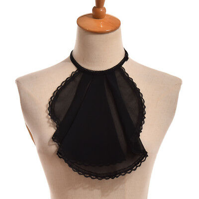 Lace-Up Chiffon Lace Neckwear Victorian Jabot Pleated Collar Unisex 3 Colors