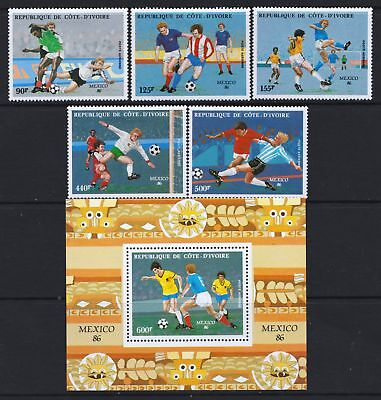 Ivory Coast 1986 World Cup Football  - Mint stamps & sheet - Cat £17.50 - (336)