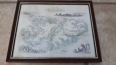 John Tallis & Company London - New York -  FALKLAND ISLANDS ENGRAVED MAP/PICTURE