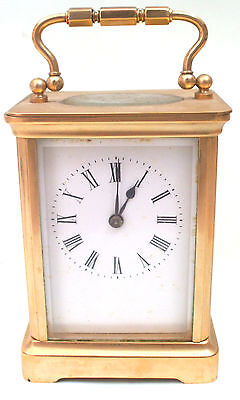 "French Brass Case Enameled Face Timepiece Carriage Clock GWO 4.5""H 3""W 2.5""D"