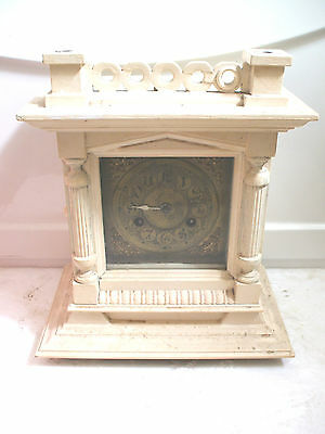 Victorian Junghans German Striking Brass Face Mantle Clock For Spare/Repair
