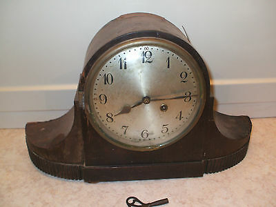 "Junghans Wurttemberg German Oak Napoleon Hat Striking Mantle Clock 18""L11""H 6""D"
