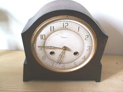 "Bentima Oak Case Mantle Clock For Spares/Repair 9""H"