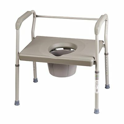 Commode Toilet Chair Bedside Heavy-Duty Steel Safety Frame Portable Adult Seat