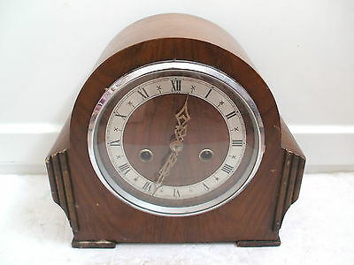 "Smiths Enfield Walnut Case Striking Mantle Clock 9""H 10""W 5.5""D"