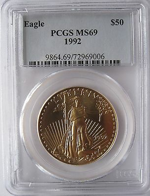 1992 $50 Gold Eagle Pcgs Ms69 Low Pop In Ms70 Only  14 Coins