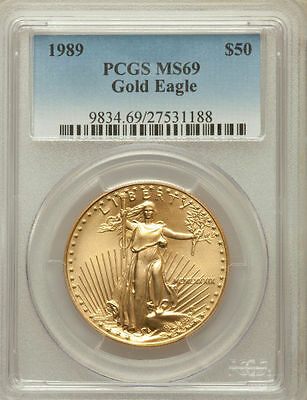 1989 Gold Eagle $50 Pcgs Ms69 Very Low Pop In Ms70