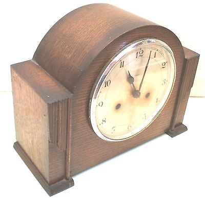 "Smiths Enfield Oak Case Striking Mantle Clock 9""H 11""W 5""D"
