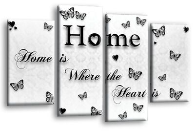 """Home Quote Wall Art Picture Black Grey White Love Family Split Canvas Panel 44"""""""