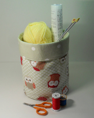 Fabric Storage Box Caddy Basket or Bin, Heavy Duty Cotton, Cute Woodland Owls