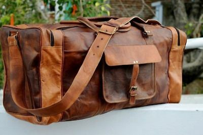 Vintage Lightweight Leather Cowhide Handmade Luggage Duffle Gym Bags Travel bag