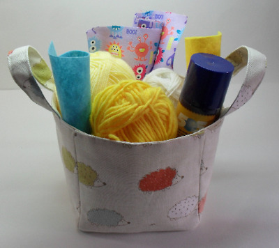 Fabric Storage Cube Basket, Heavy Duty Cotton, Lined, Carry Handles, Hedgehogs
