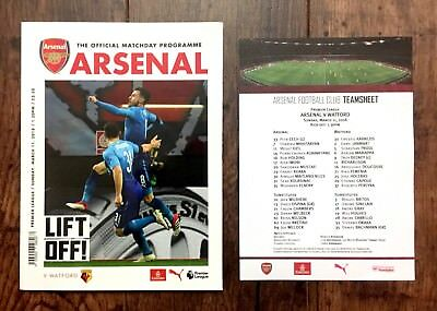 ARSENAL v WATFORD PREMIER LEAGUE PROGRAMME WITH TEAM SHEET 11 March 2018